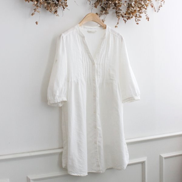 NATURAL LINEN _ LINEN LONG BLOUSE