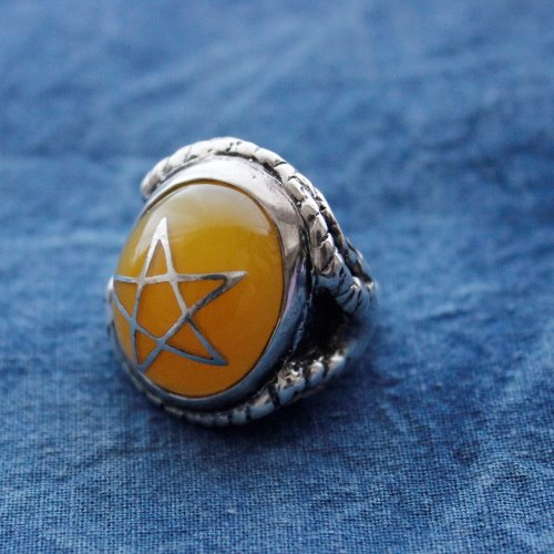 AMBER BABY ANGEL HEART 925 SILVER RING