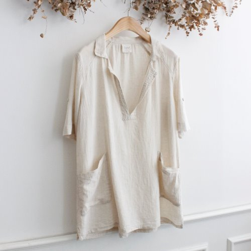 SUN VALLEY _ LINEN BLEND BLOUSE